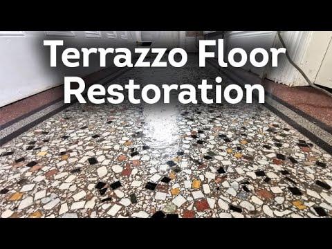 Diamond Polishing a Terrazzo Floor and camouflaging the cracks