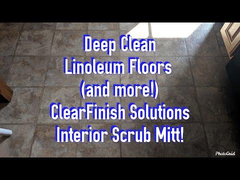 Deep Clean Linoleum Floors with ClearFinish Solutions Interior Scrub Mitt!