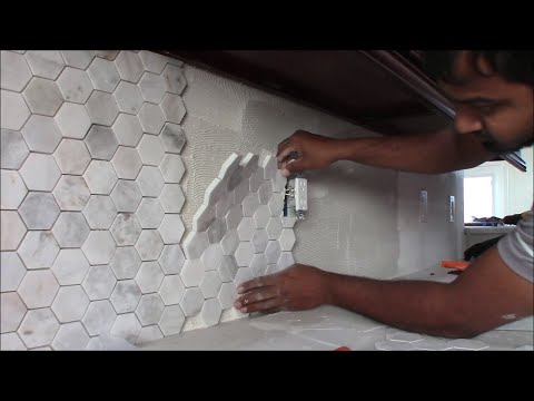 How to Install Backsplash In Kitchen (3 inch Hexagon Mosaic Tile)