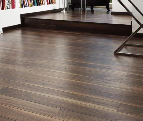 Best below grade floor; dark walnut laminate flooring