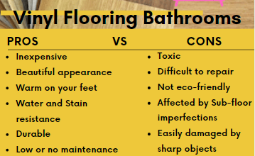 Pro and Cons of bathroom vinyl flooring