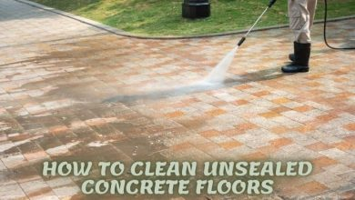 how to clean unsealed concrete floor indoor and outdoor